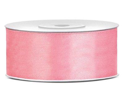 Satijn lint 25 mm oud roze