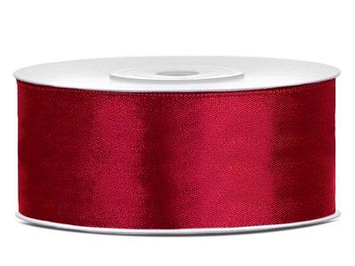 Satijn lint 25 mm donker rood