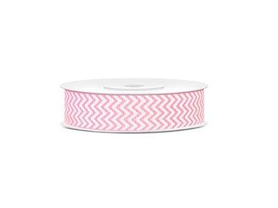 Grosgrain lint Licht roze met wit zigzag patroon