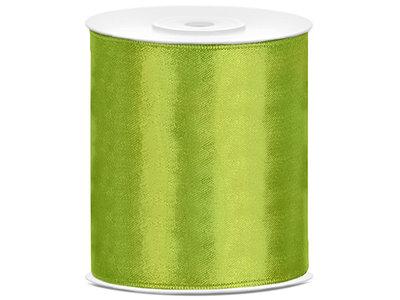 Satijn lint 100 mm lime groen