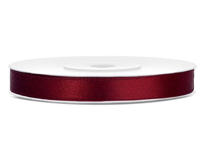 Satijn lint 6 mm Bordeaux rood