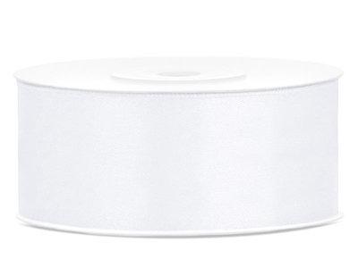 Satijn lint 25 mm Wit