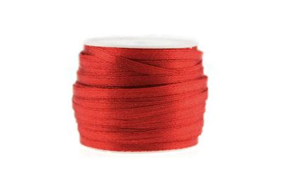 Satijn lint 3 mm Rood