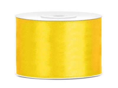 Satijn lint 50 mm geel
