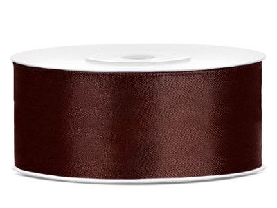 Satijn lint 25 mm bruin