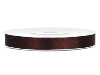 Satijn lint 6 mm bruin