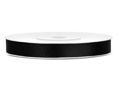 Satijn lint 6 mm breed zwart