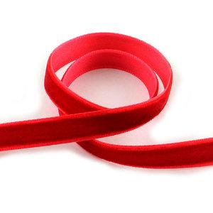 Fluweel lint 1 cm breed rood