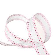 Organza grosgrain lint  2.5 cm wit - roze stippen